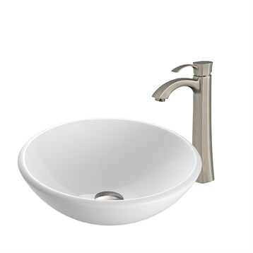 Vigo White Phoenix Stone Glass Vessel Sink with Otis Faucet Set VGT201- by Vigo Industries
