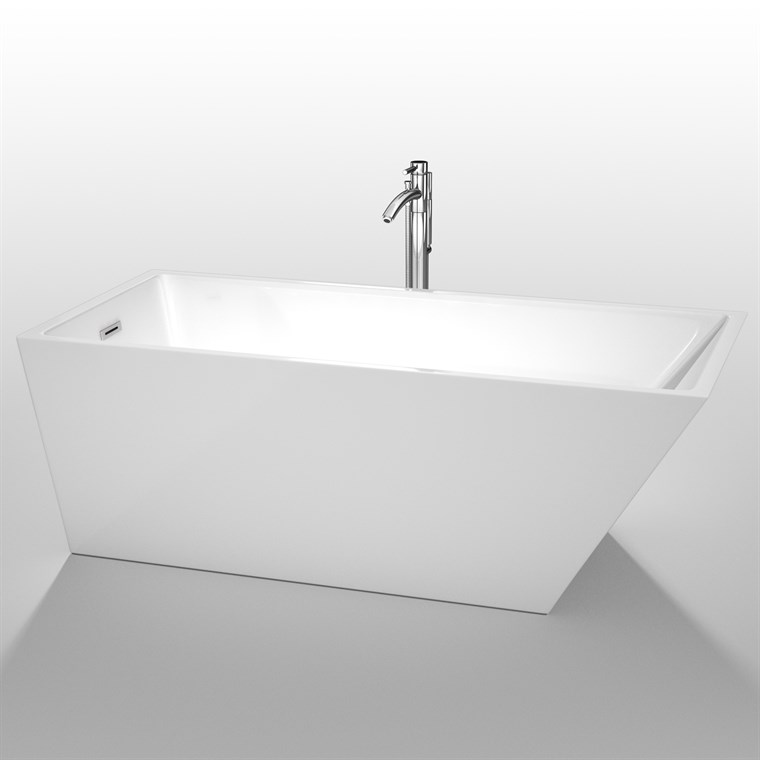 "Hannah 67"" Soaking Bathtub by Wyndham Collection - White WC-BTE1501-67"