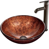 VIGO Mahogany Moon Glass Vessel Sink and Faucet Set in Oil Rubbed Bronze VGT170