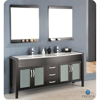 "Fresca Infinito 71"" Espresso Modern Double Sink Bathroom Vanity with Mirrors FVN5170ES"
