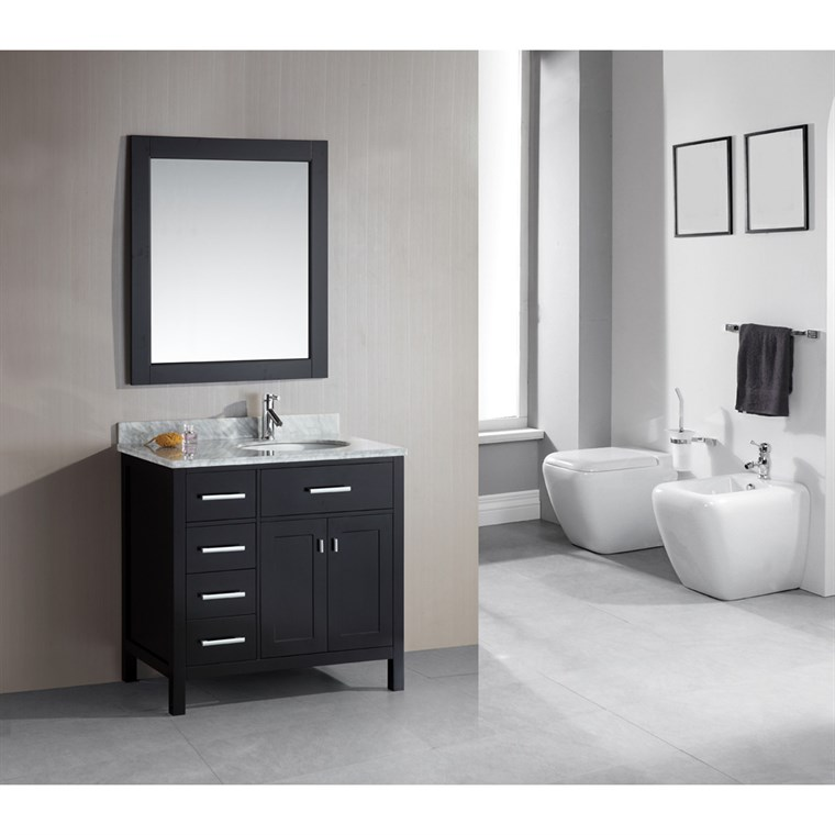 "Design Element London 36"" Single Vanity with Drawers on the Left, White Carrera Countertop, Sink and Mirror - Espresso DEC076D-L"