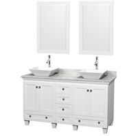 "Acclaim 60"" Double Bathroom Vanity for Vessel Sinks by Wyndham Collection - White WC-CG8000-60-DBL-VAN-WHT"
