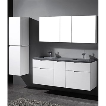 "Madeli Bolano 60"" Double Bathroom Vanity for Quartzstone Top, Glossy White B100-60D-022-GW-QUARTZ by Madeli"