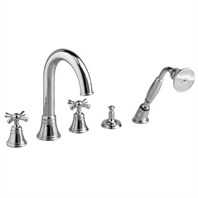 JADO Hatteras High Spout Roman Tub Set with Handshower - Cross Handles