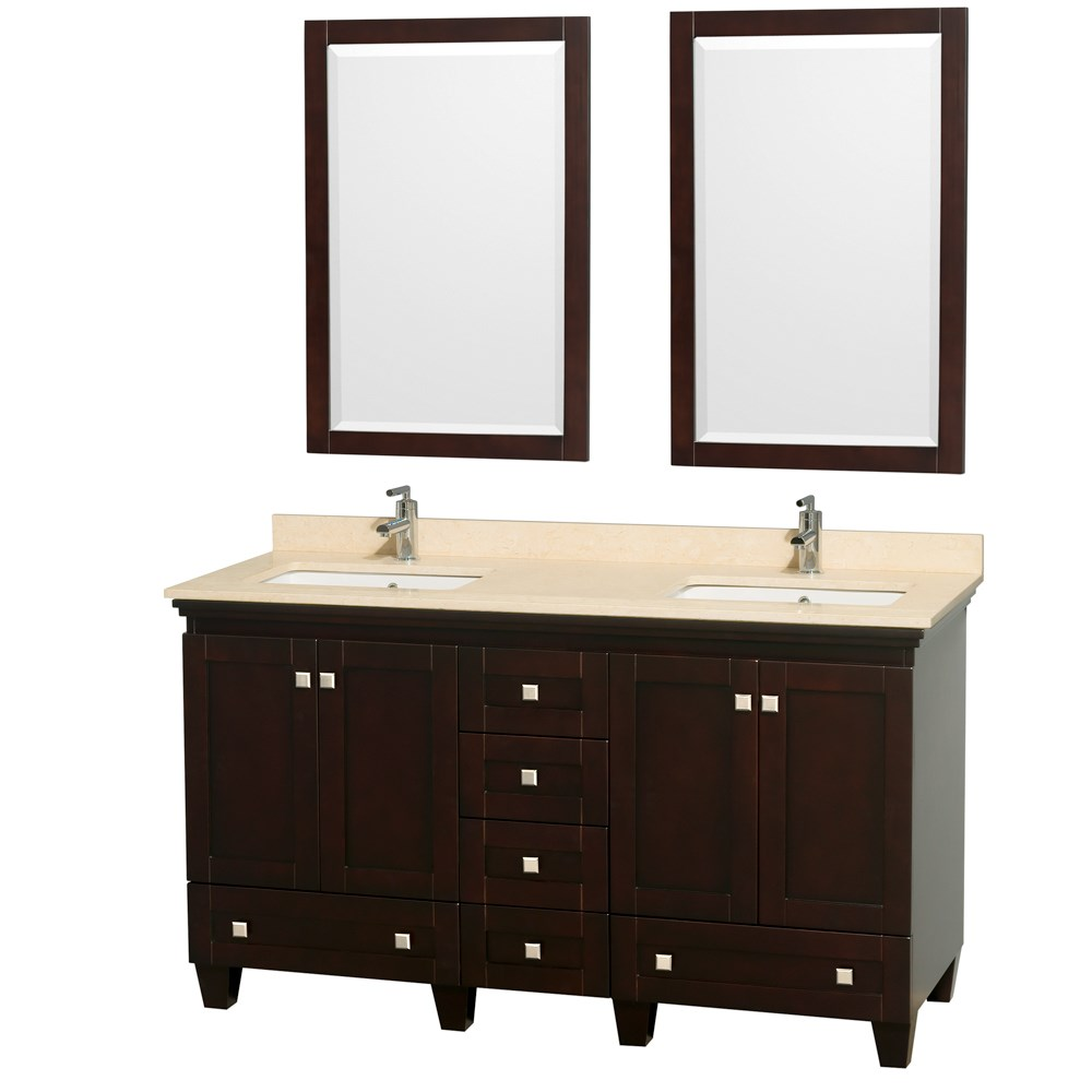 Acclaim 60 inch Double Bathroom Vanity by Wyndham Collection Espresso