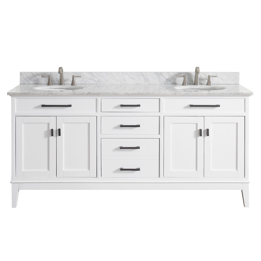 "Avanity Madison 72"" Double Bathroom Vanity - White"