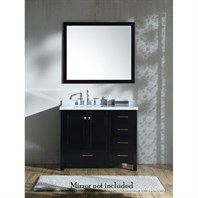 "Ariel Cambridge 43"" Single Sink Vanity with Left Offset Rectangle Sink and White Carrara Marble Countertop - Espresso A043SLCWRVOESP"