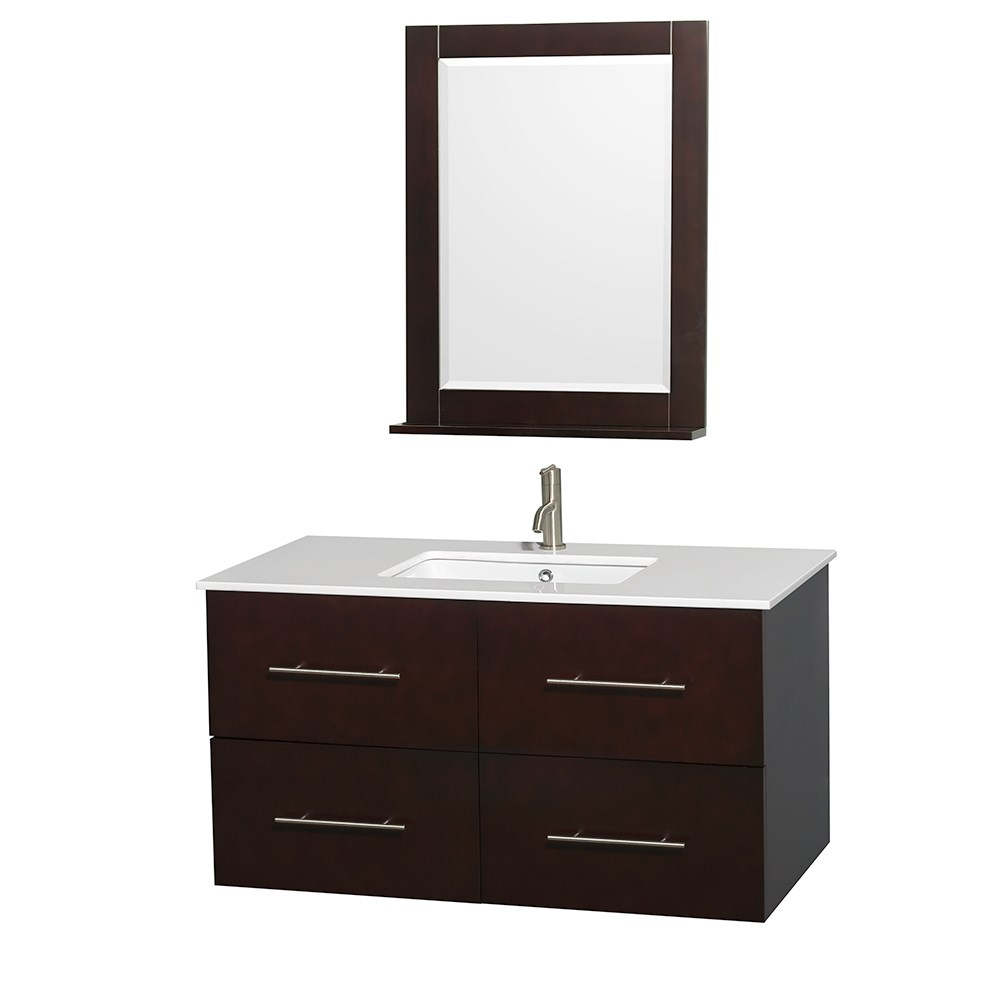 "Centra 42"" Single Bathroom Vanity for Undermount Sinks by Wyndham Collection - Espressonohtin Sale $999.00 SKU: WC-WHE009-42-SGL-VAN-ESP- :"