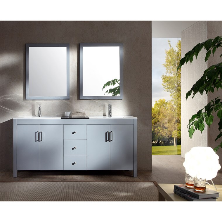 "Ariel Hanson 72"" Double Sink Vanity Set with Black Granite Countertop - Grey K072D-GRY"
