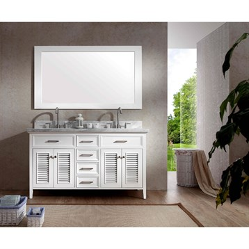 "Ariel Kensington 61"" Double Sink Vanity Set with Carrera White Marble Countertop, White D061D-WHT by Ariel"