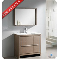 "Fresca Allier 36"" Gray Oak Modern Bathroom Vanity with Mirror FVN8136GO"