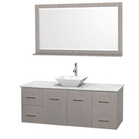 "Centra 60"" Single Bathroom Vanity Set for Vessel Sink by Wyndham Collection - Gray Oak WC-WHE009-60-SGL-VAN-GRO"