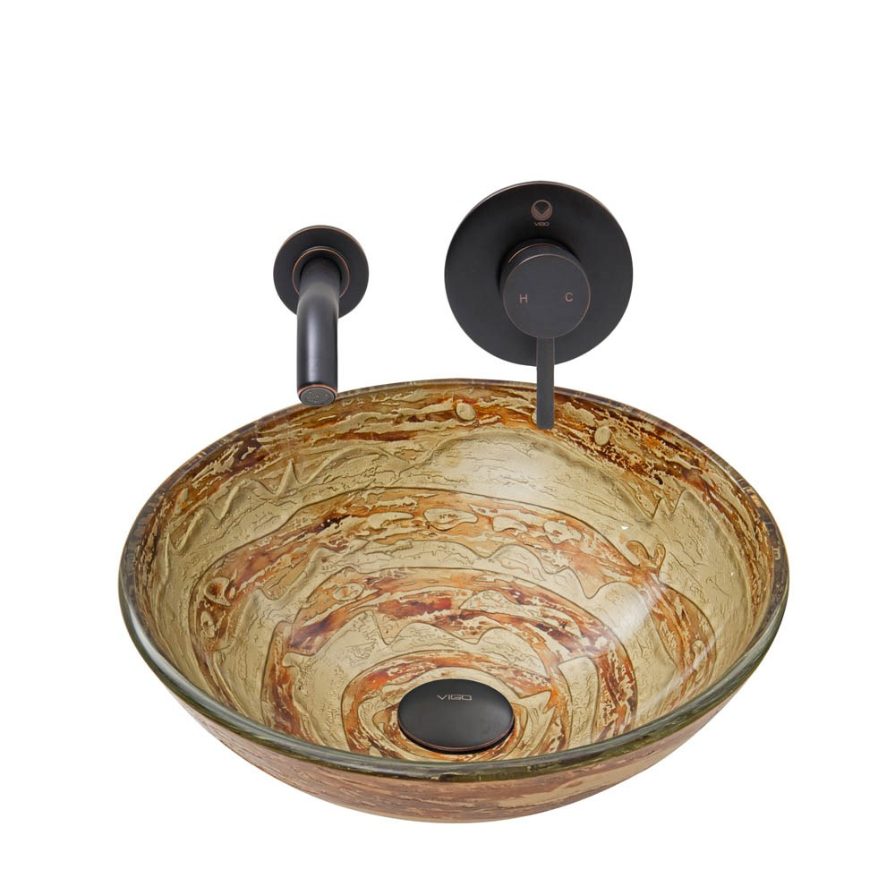 Vigo Mocha Swirl Glass Vessel Sink And Olus Wall Mount Faucet Set In Antique Rubbed Bronze Finish