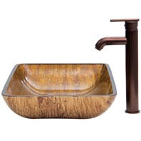 VIGO Rectangular Amber Sunset Glass Vessel Sink and Faucet Set in Oil Rubbed Bronze VGT292
