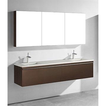 "Madeli Venasca 72"" Double Bathroom Vanity for Quartzstone Top, Walnut B990-72D-002-WA-QUARTZ by Madeli"