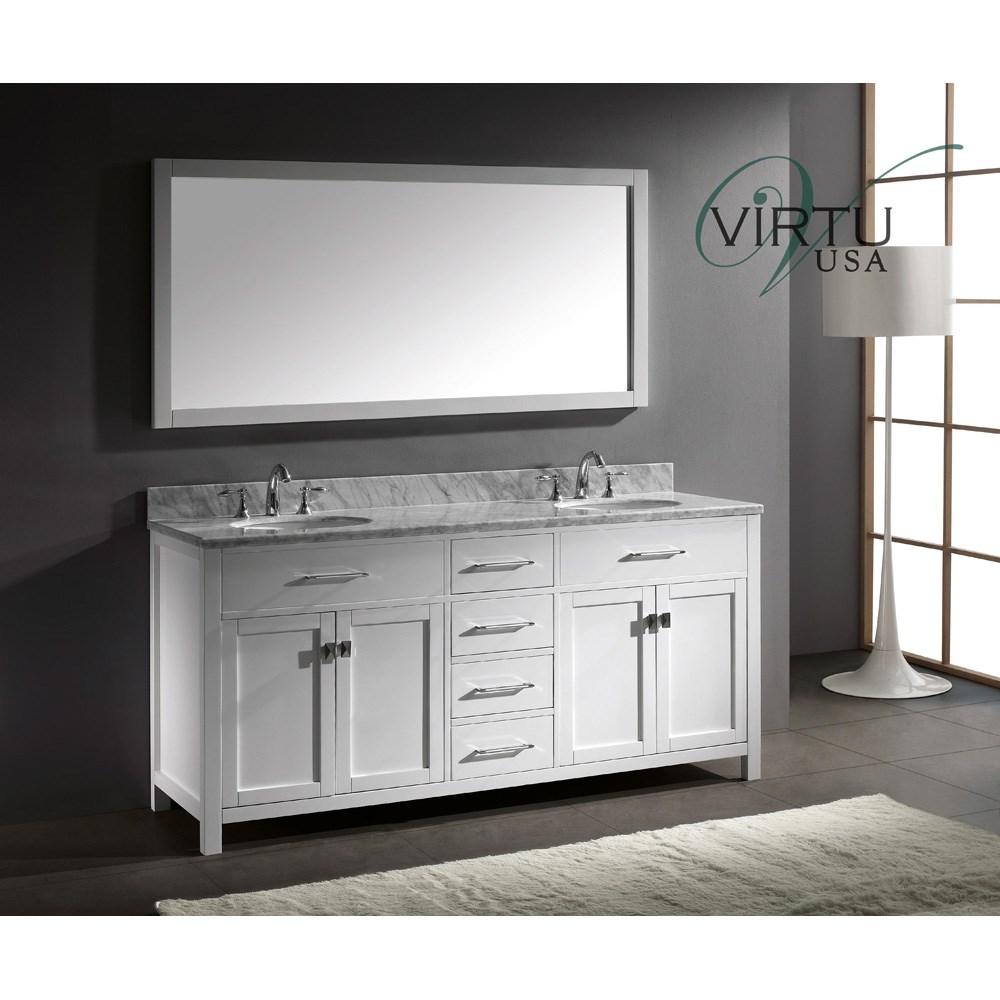 Outstanding Virtu Usa Caroline 72 Double Sink Bathroom Vanity White Home Interior And Landscaping Eliaenasavecom