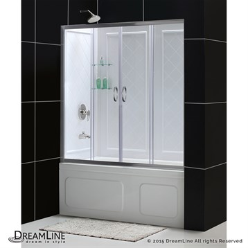 """Bath Authority DreamLine Visions Frameless Sliding Tub Door and QWALL-Tub Backwalls Kit, 56"""" to 60"""" DL-6995 by Bath Authority DreamLine"""