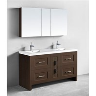 "Madeli Retro 60"" Double Bathroom Vanity for Integrated Basin - Walnut B700-60D-001-WA"