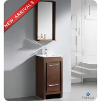 "Fresca Allier 16"" Wenge Brown Modern Bathroom Vanity with Mirror FVN8118WG"