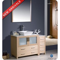 "Fresca Torino 48"" Light Oak Modern Bathroom Vanity with Side Cabinet & Vessel Sink FVN62-3612LO-VSL"
