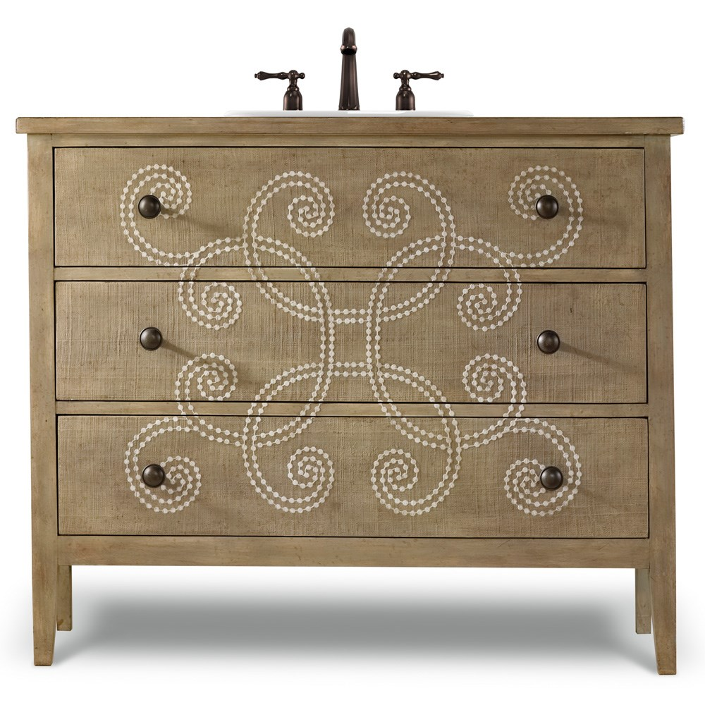 "Cole & Co. 44"" Designer Series Emma Hall Chest - Handpainted Parchment"