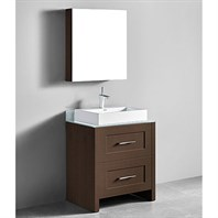 "Madeli Retro 30"" Bathroom Vanity for Glass Counter and Porcelain Basin - Walnut B700-30-001-WA-GLASS"