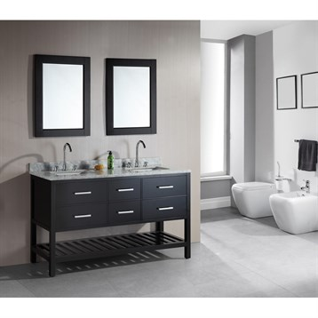 """Design Element London 61"""" Double Vanity with Open Bottom, White Carrera Countertop, Sinks and Mirrors, Espresso... by Design Element"""