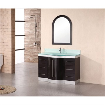 "Design Element Jade 48"" Single Sink Vanity Set w/ Tempered Glass Countertop, Espresso DEC024-GTP by Design Element"