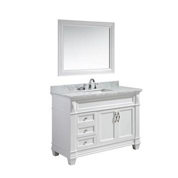 "Design Element Hudson 48"" Single Sink Vanity Set with White Carrara Marble Top, White DEC059B-W-W by Design Element"