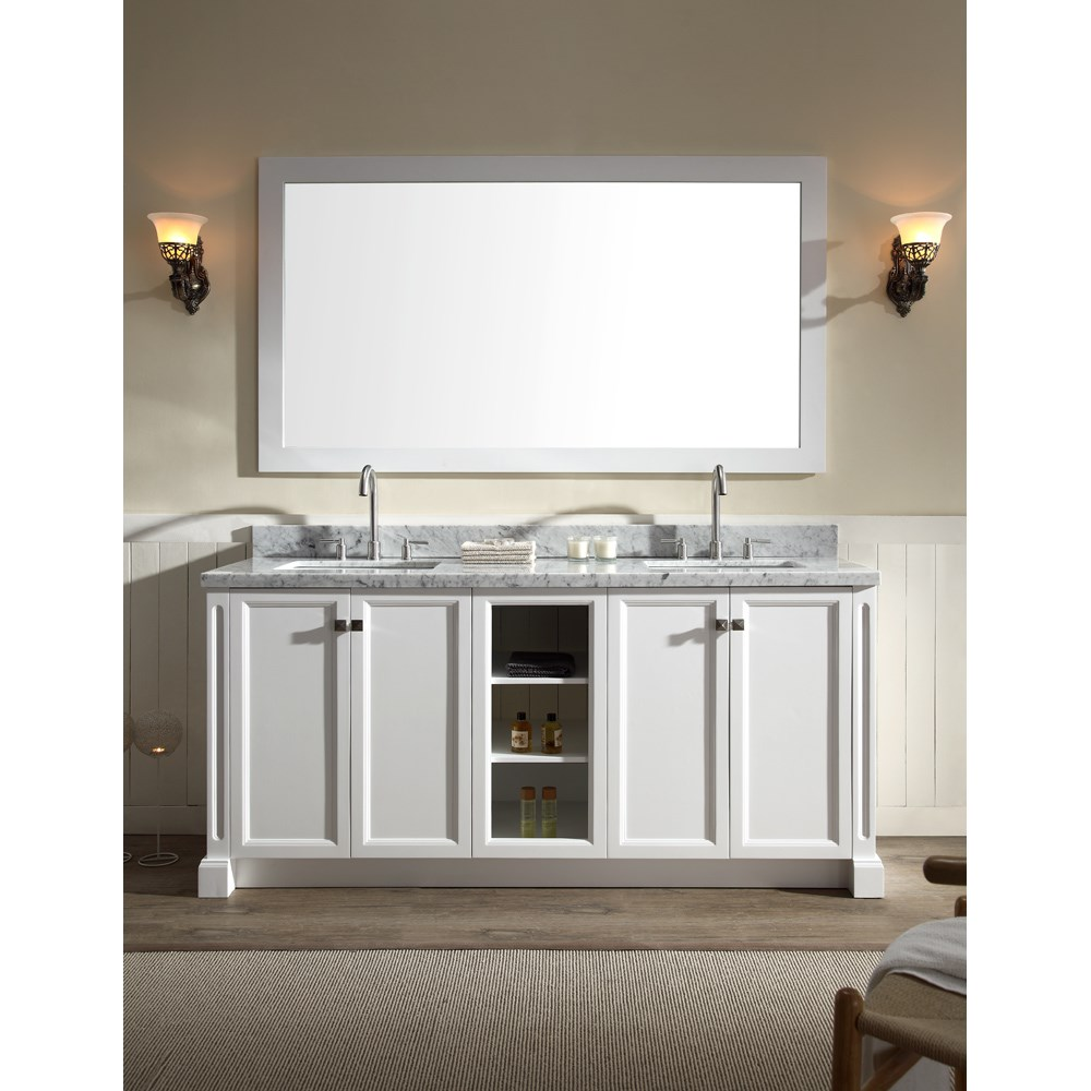 "Ariel Westwood 73"" Double Sink Vanity Set with Carrera White Marble Countertop - Whitenohtin Sale $1749.00 SKU: C073D-WHT :"