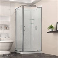 "DreamLine Flex 28-32"" Adjustable W x 32"" D x 76-3/4"" H Frameless Shower Enclosure, Backwall and Base Kit, Chrome Finish Hardware DL-6716-01CL"