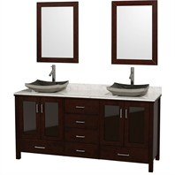 "Lucy 72"" Double Bathroom Vanity Set with Vessel Sinks by Wyndham Collection - Espresso WC-MS015-72-ESP-OVER"