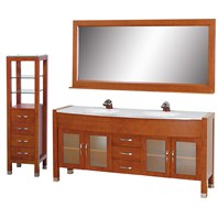"Daytona 71"" Double Bathroom Vanity Set by Wyndham Collection - Cherry w/ Drawers & Cabinet WC-A-W2200-71-CH-SET-"