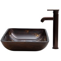VIGO Rectangular Brown and Gold Fusion Glass Vessel Sink and Faucet Set in Oil Rubbed Bronze VGT276