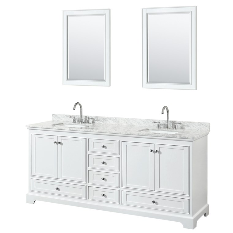 "Deborah 80"" Double Bathroom Vanity by Wyndham Collection - White WC-2020-80-DBL-VAN-WHT"