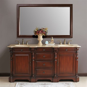 "Virtu USA Cambridge 72"" Double Vanity Set - Antique Cherry"