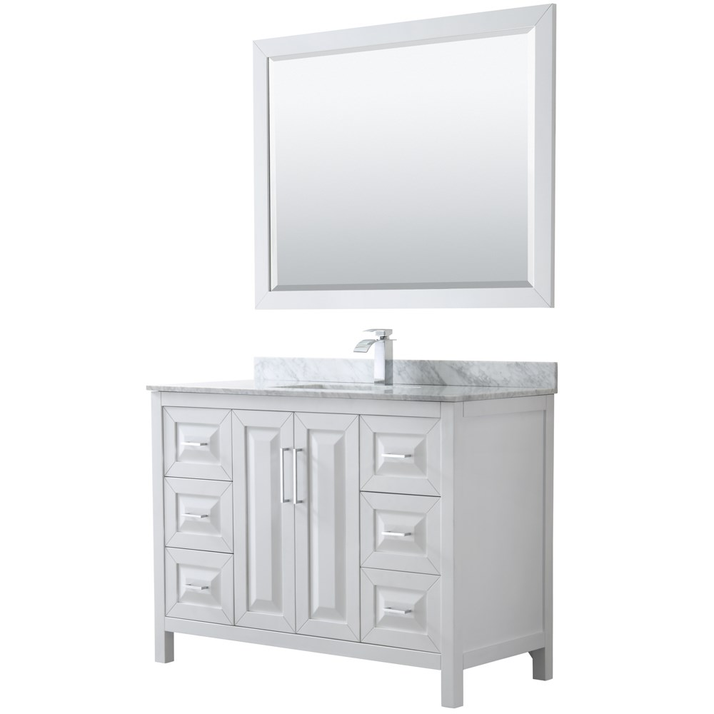 "Daria 48"" Single Bathroom Vanity by Wyndham Collection - White WC-2525-48-SGL-VAN-WHT"