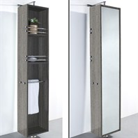 April Rotating Floor Cabinet with Mirror by Wyndham Collection - Grey Oak WC-V202-GROAK
