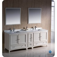 "Fresca Oxford 84"" Traditional Double Sink Bathroom Vanity with Side Cabinet - Antique White FVN20-361236AW"