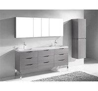 "Madeli Milano 72"" Double Bathroom Vanity for X-Stone Integrated Basins - Ash Grey B200-72-002-AG-XSTONE"