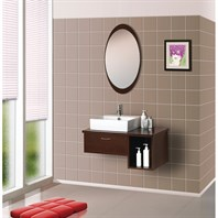Bath Authority DreamLine Wall-Mounted Modern Bathroom Vanity with Porcelain Sink and Mirror Complete Bath Vanity Set - Walnut DLVRB-134-WN