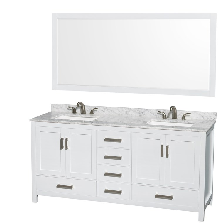 "Sheffield 72"" Double Bathroom Vanity by Wyndham Collection, Square Sink (3 Hole) - White WC-1414-72-DBL-VAN-WHT--3H"