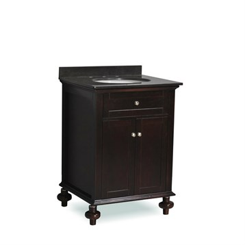 "Belmont decor Huntington 24"" Single Sink Vanity Set with Black Granite Countertop, Dark Walnut ST14-24-ESP by Ariel"