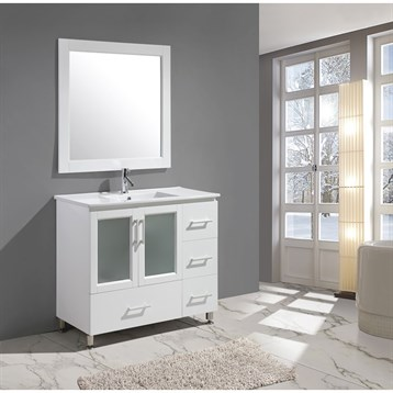 "Design Element Stanton 40"" Bathroom Vanity Set with Drop-In Sink, White B40-DS-W by Design Element"