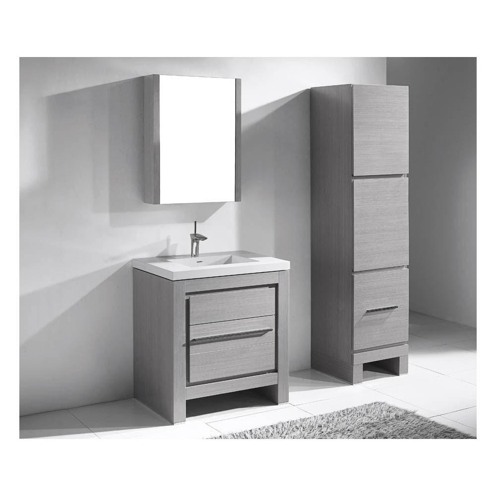 "Madeli Vicenza 30"" Bathroom Vanity For X-Stone - Ash Greynohtin"