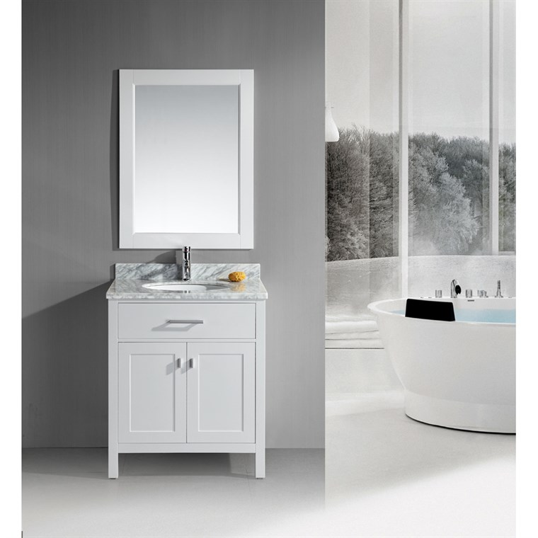 "Design Element London 30"" Single Vanity with White Carrera Countertop, Sink and Mirror - Pearl White DEC076E-W"
