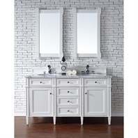 "James Martin 60"" Brittany Double Cabinet Vanity - Cottage White 650-V60D-CWH"