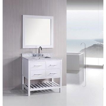 "White 36 Bathroom Vanity design element london 36"" bathroom vanity with open bottom, white"