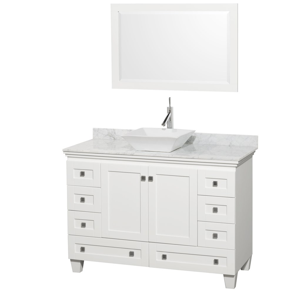 "Acclaim 48"" Single Bathroom Vanity for Vessel Sink by Wyndham Collection - White WC-CG8000-48-SGL-VAN-WHT"
