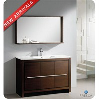 "Fresca Allier 48"" Wenge Brown Modern Bathroom Vanity with Mirror FVN8148WG"